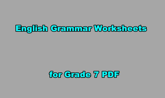 Exercours: English Grammar Worksheets For Grade 7 PDF