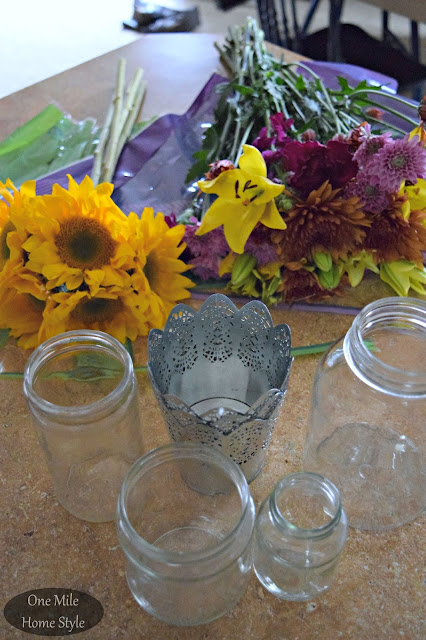 Supermarket Flowers into 3 Beautiful Centerpieces - One Mile Home Style