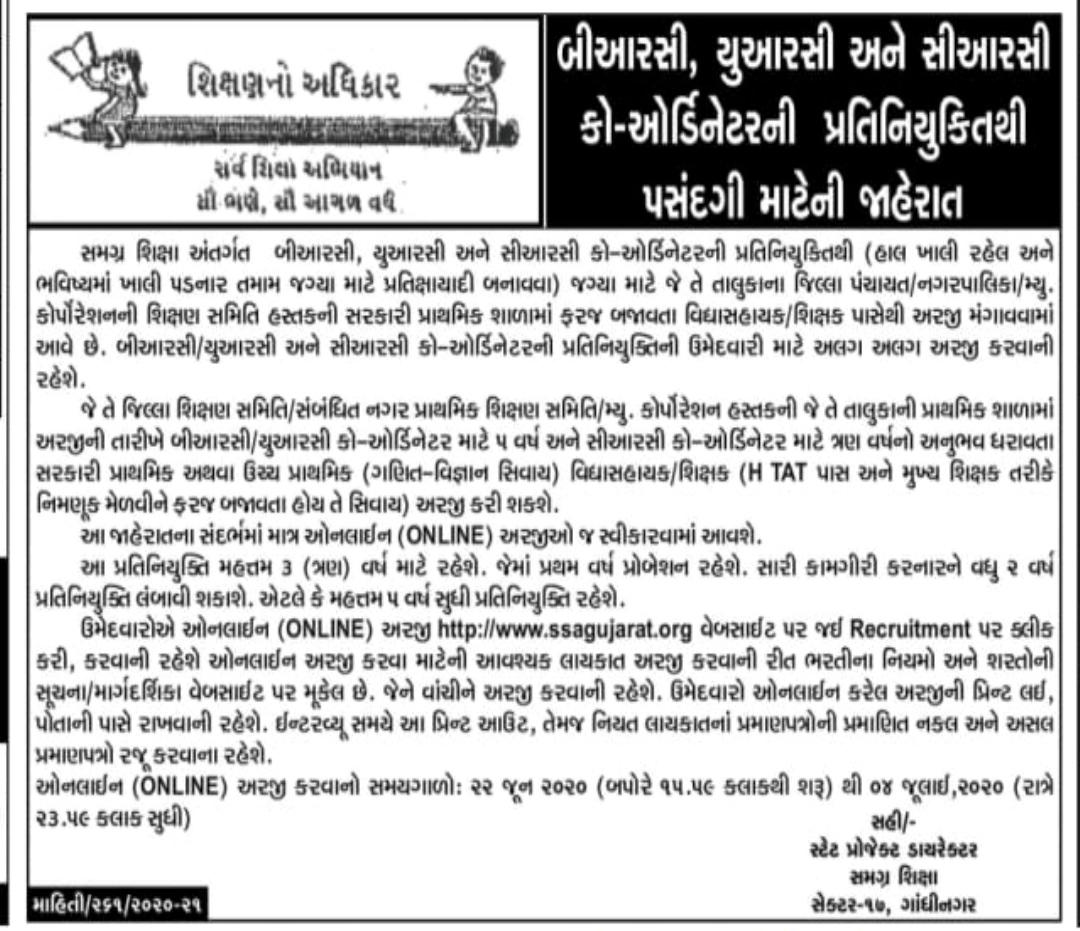 Sarva Shikshan Abhiyan (SSA), Gujarat Recruitment for BRC