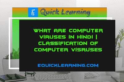 What are Computer Viruses  in Hindi | Classification of Computer viruses
