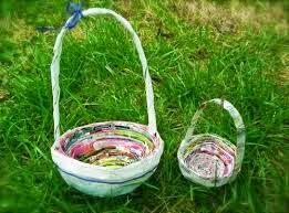 cestas de material reciclado para páscoa