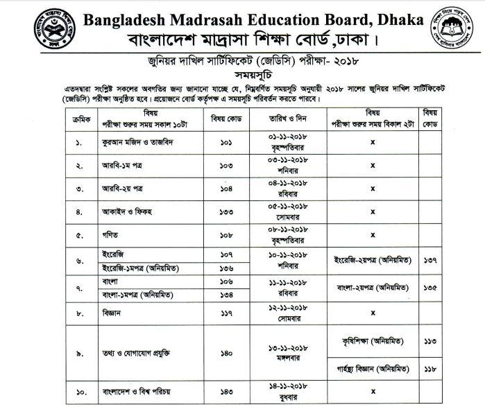 JDC Exam Routine 2018 of  Madrasah Education board