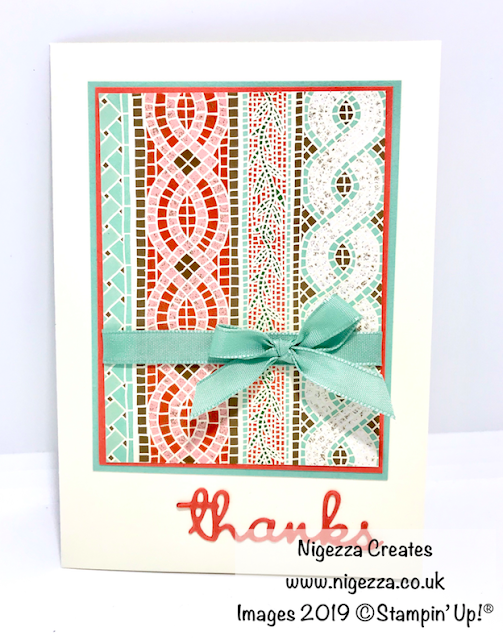 Nigezza Creates, Stampin Up Mosaic Mood Customer Thank You Card