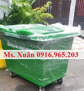 Xe thu gom rác y tế 660 lít màu xanh lá