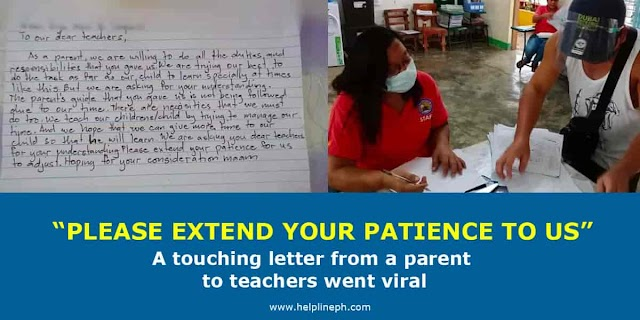 PLEASE EXTEND YOUR PATIENCE TO US: A touching letter from a parent to teachers went viral
