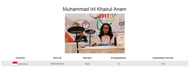 Profile akun WCA dari Muhammad Iril Khairul Anam yang merupakan peringkat ketiga nasional dalam menyelesaikan rubik 5x5x5 dengan mata tertutup