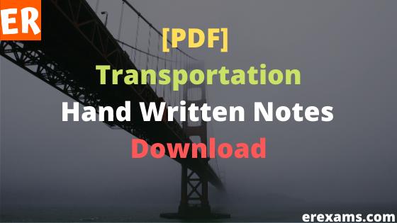 Transportation Notes Free Pdf Download
