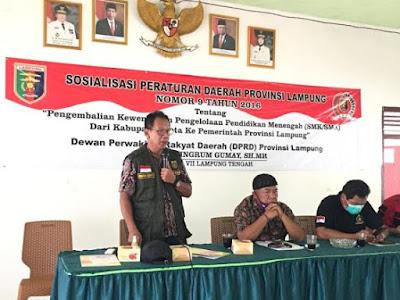 Ketua DPRD Lampung Sosialisasikan Perda Nomor 9 Tahun 2016