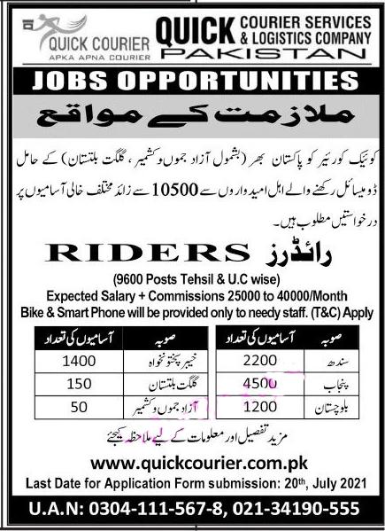 Riders Jobs 2021
