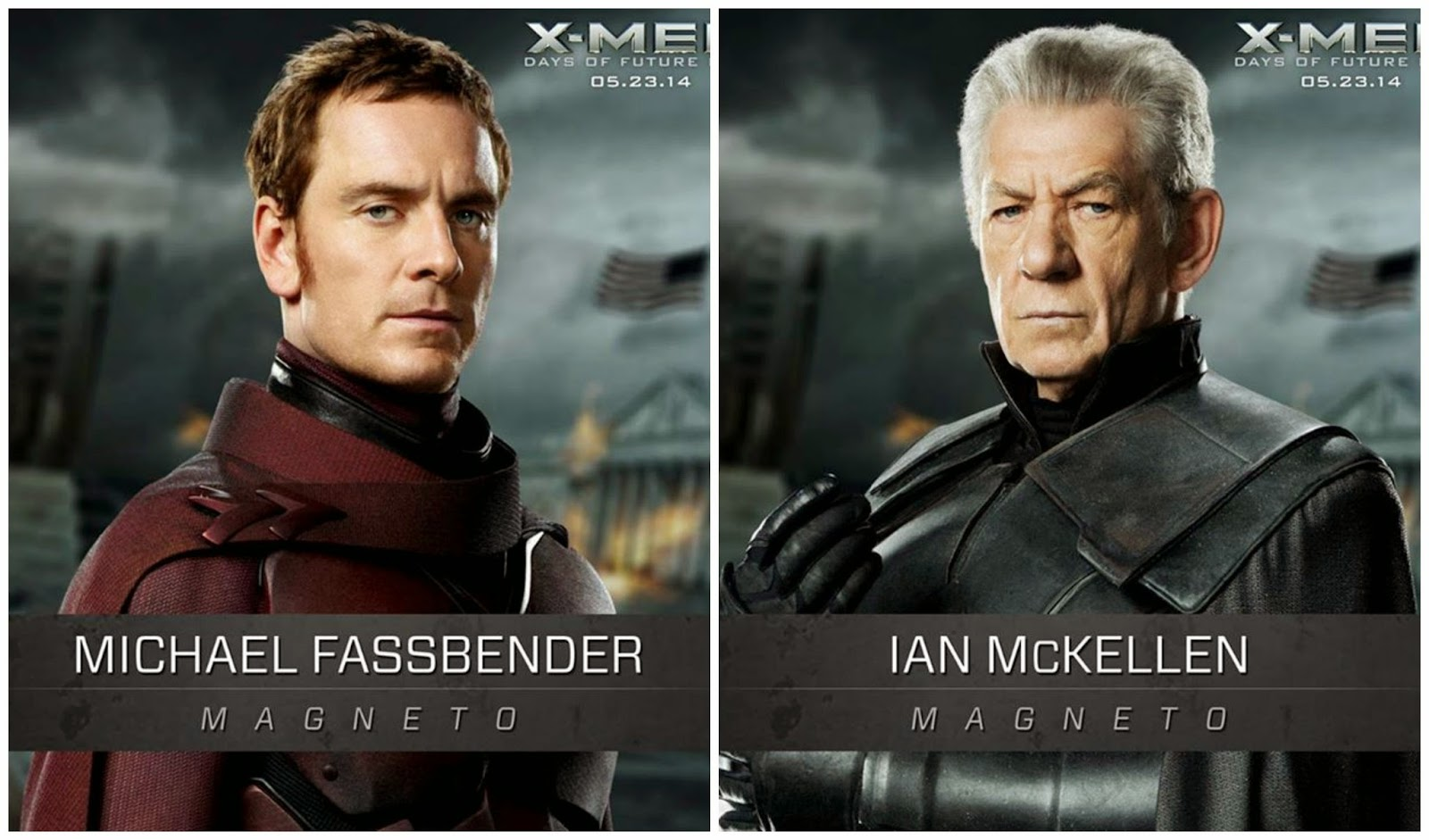 Michael Fassbender and Ian McKellen as younger and older Magneto Erik Lehnsherr in X Men Days of Future Past