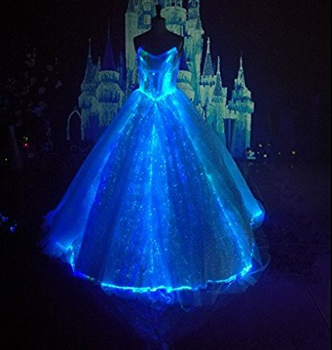 met gala led wedding dress light up bridal gown fiber optic formal
