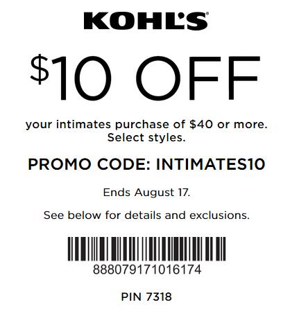 Kohls Intimate Coupon 2016