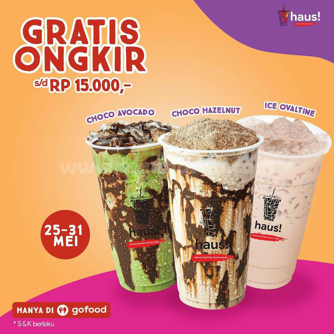 Promo HAUS! Diskon 75% + Gratis Ongkir hingga Rp 15.000 melalui GOFOOD