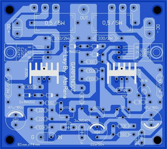 PCB Power Amplifier OCL Garpendoz Layout
