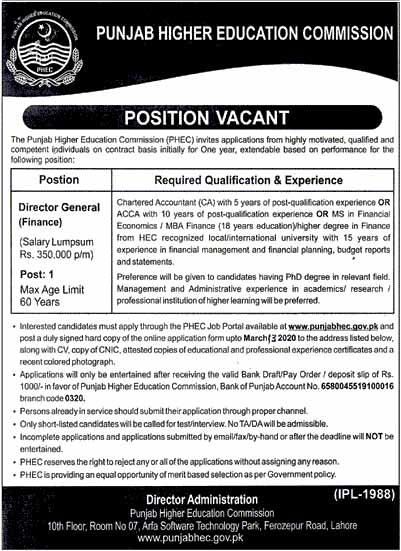Punjab Higher Education Commission (HEC) Jobs For Director General Finance