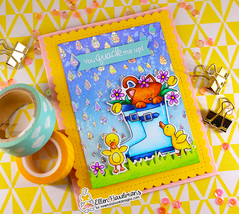 You Quack me Up | Kitty in Rain Boots Card by Ellen Haxelmans | Newton's Rain Boots Stamp Set, Land Borders Die Set, Frames & Flags Die Set and Raindrops Stencil by Newton's Nook Designs #newtonsnook #handmade