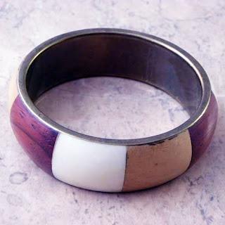 Bone and wood chunk bangle - modern