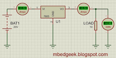 LM7805 Efficiency Calculation