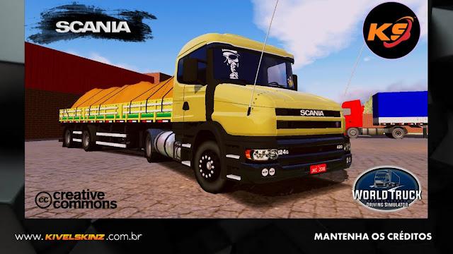 SCANIA T124 - BEGE COM FAIXAS VERDES