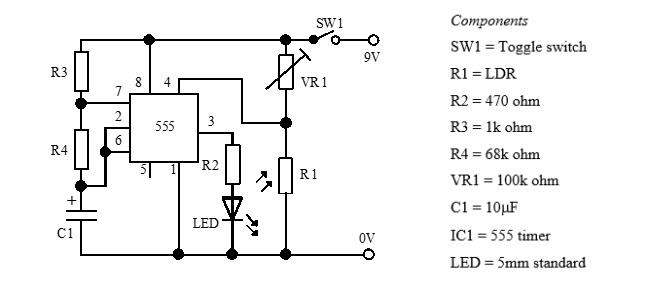 دائرة مؤشر للضوء (التايمر 555 في حالة عديم الاستقرار)