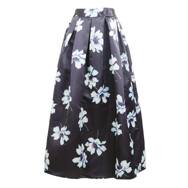 Rok Payung Panjang Bahan Satin Motif bunga