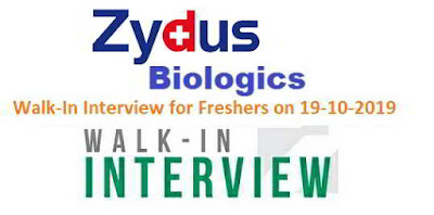 Zydus Biologics - Walk-in interview for Freshers on 19th October, 2019 @ Ahmedabad