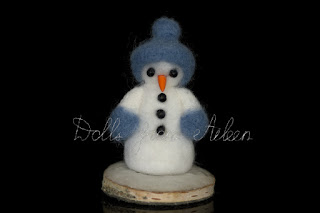 ooak needle felted snowman with birch wood base