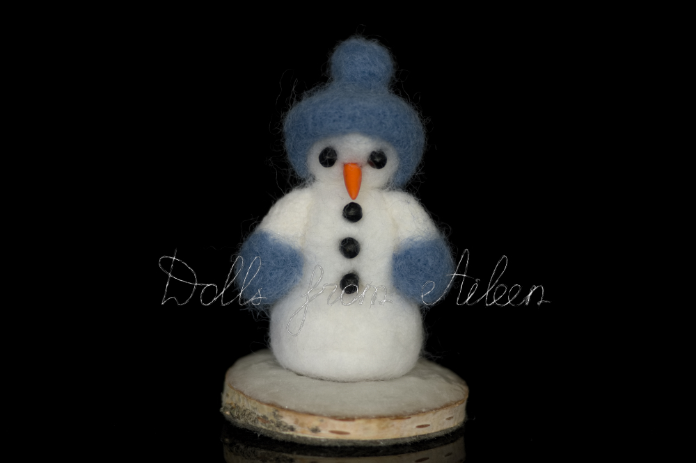 OOAK needle felted snowman on stand, front view