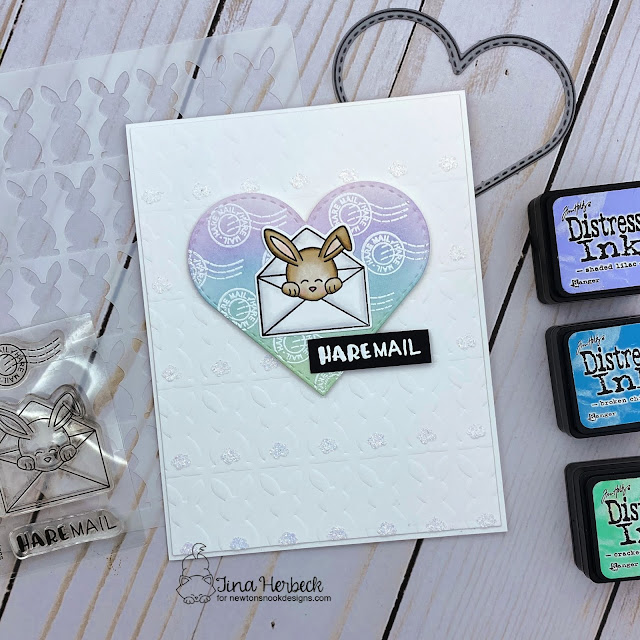 Hare Mail Bunny Card by Tina Herbeck | Hare Mail Stamp Set, Bunny Tails Stencil and Circle Frames Die Set by Newton's Nook Designs
