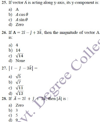 Mcqs of physics chapter 2 with answer key