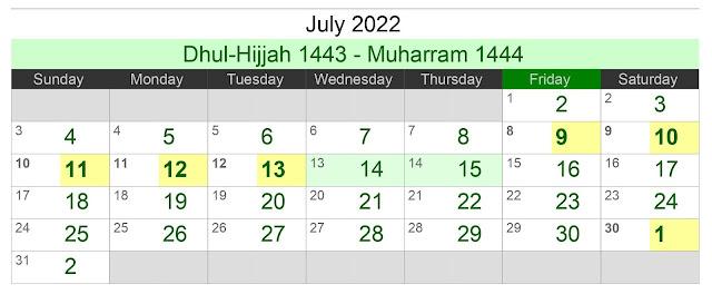 Kalender Hijriah Bulan Juli 2022 Lengkap Jadwal Puasa