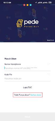 cara daftar dari aplikasi pede android