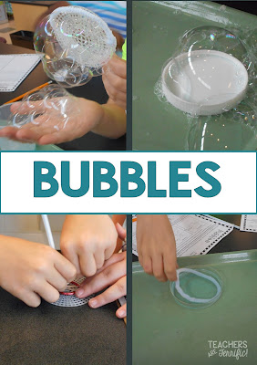 STEM Challenge: You can't go wrong with this one! The challenge first explores giant bubbles and then the kids use materials you supply to build a bubble wand! Great for spring weather!