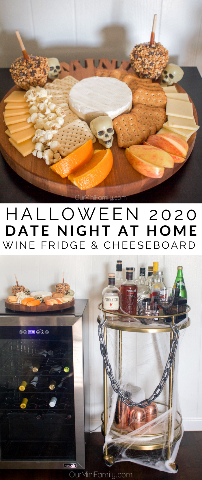 Halloween cheese board and bar cart