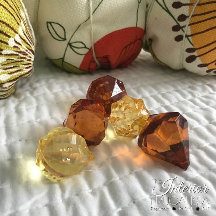 Modern Fabric Pumpkins Plastic Gem Beads