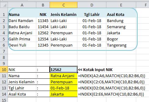 Contoh Rumus Excel INDEX MATCH