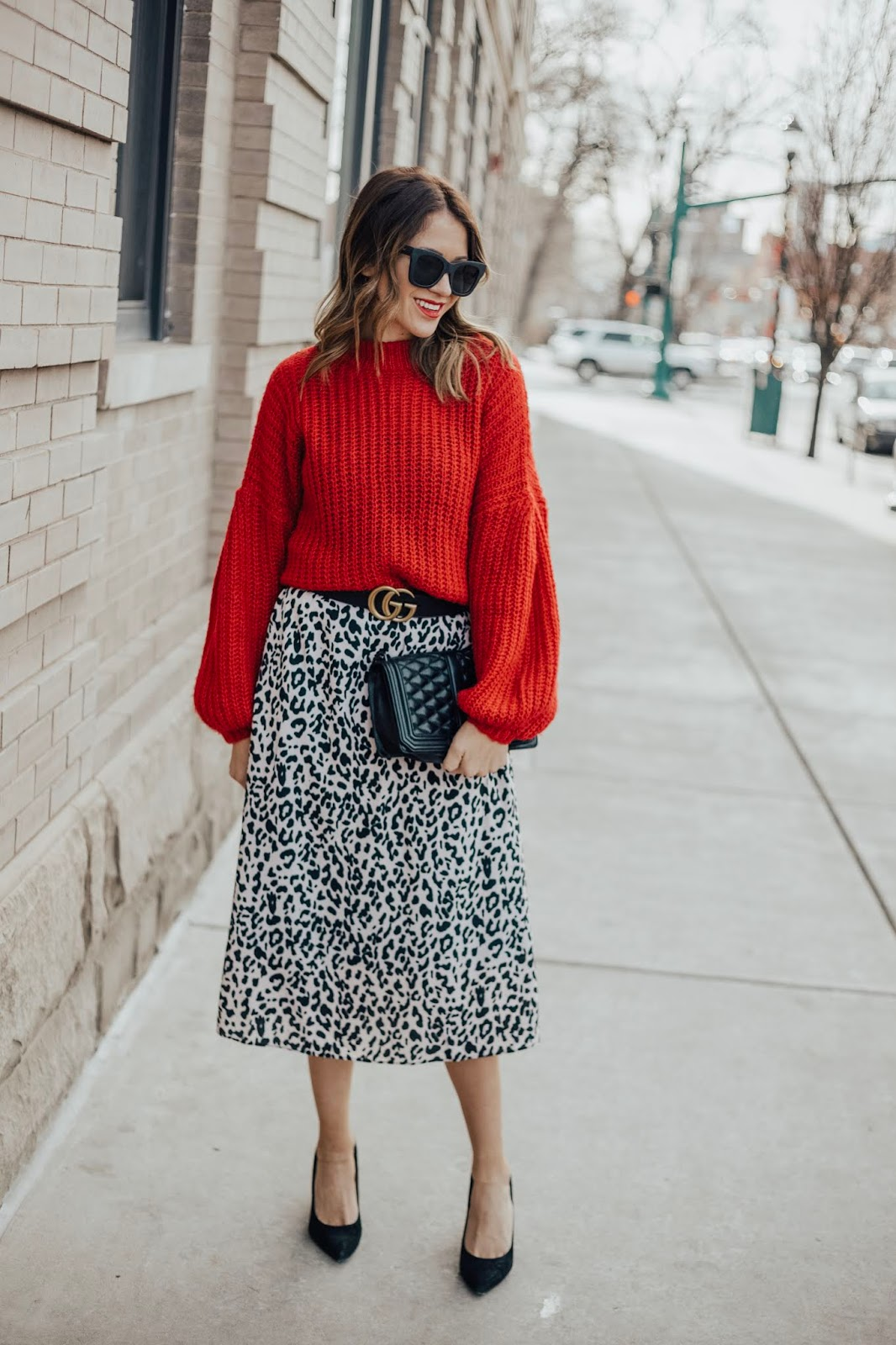 Skirt and Sweater with Gucci Belt