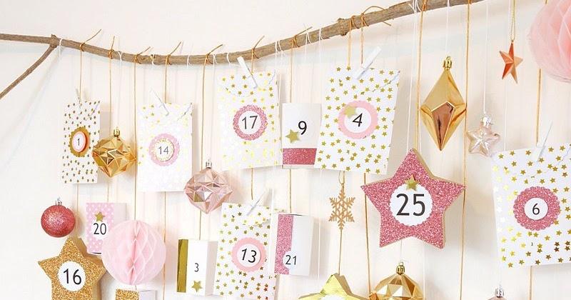Diy calendrier de l 39 avent rose cuivre f tes party printables - Calendrier de l avent light ...