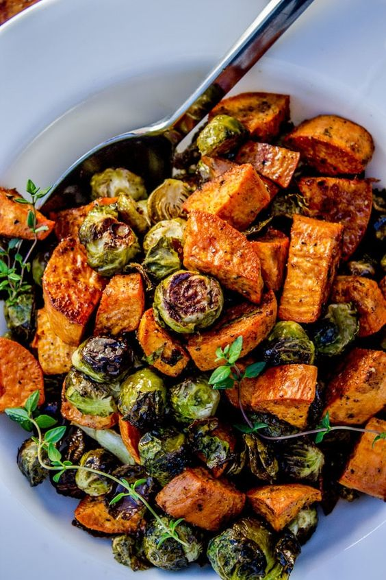 Healthy Roasted Sweet Potatoes and Brussels Sprouts