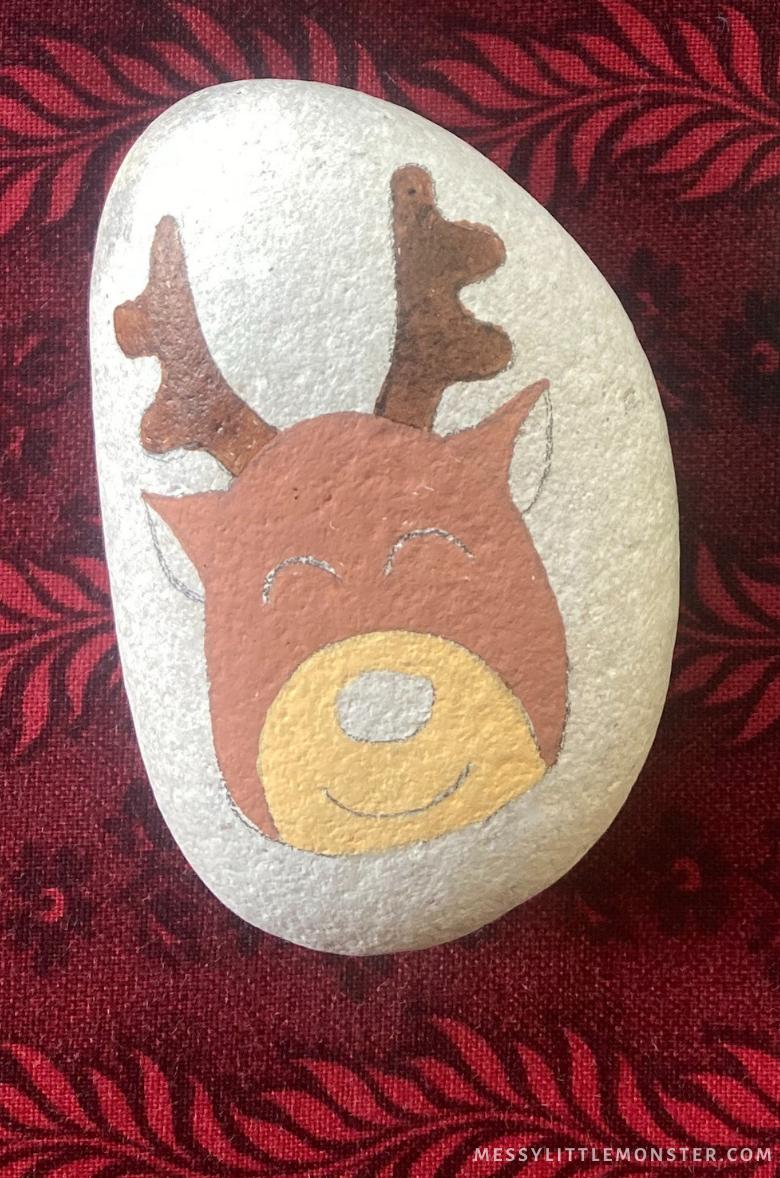 Christmas rock painting - Reindeer
