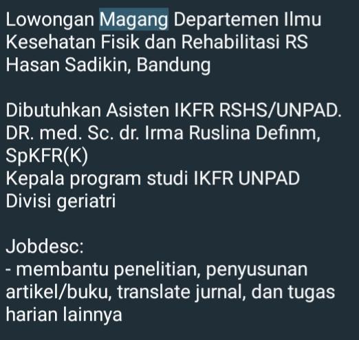 Lowongan Magang Departemen Ilmu Kesehatan Fisik dan Rehabilitasi RS Hasan Sadikin, Bandung