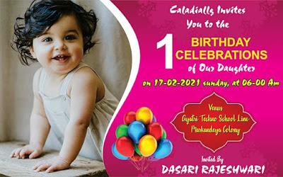 1st birthday invitation card matter