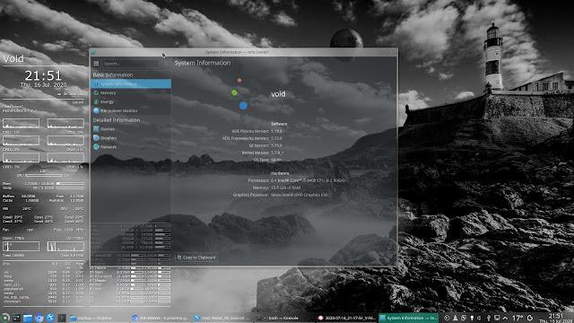 Void Linux com Kernel 5.7.9 + KDE Plasma (KInfocentre)