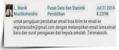 Cara Usul Perubahan Alamat Email pada Login SDM PDSP