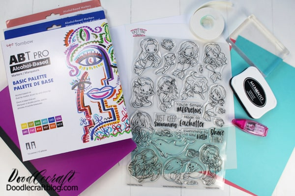 Supplies Needed for Altered Notebooks: Rubber Stamps from TGF  Composition Notebook  Memento Ink Pad  Clear Block  Tombow Fudenosuke Brush Pen  Cardstock (white and various colors)  Tombow Power Mini Tape  Tombow Foam Tape  Tombow ABT PRO Alcohol Based Markers