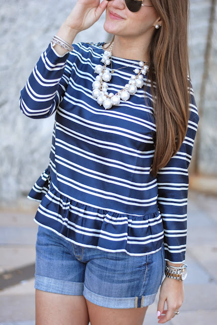 vineyard vines peplum stripe top