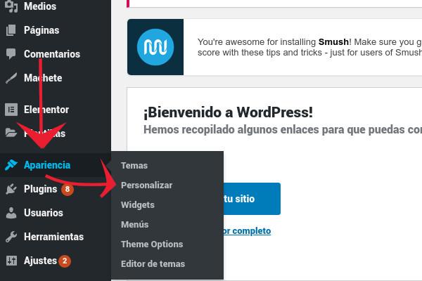Apariencia >> Perzonalizar en WordPress