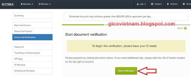 Verify thông tin cá nhân Bittrex