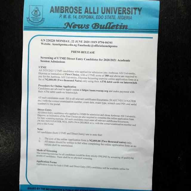AAU Ekpoma Post-UTME & DE Screening Form 2020/2021