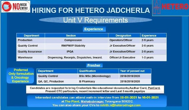 Hetero Labs | Walk-in for Production/QC/QA/Warehouse on 8th to 16th Jan 2020
